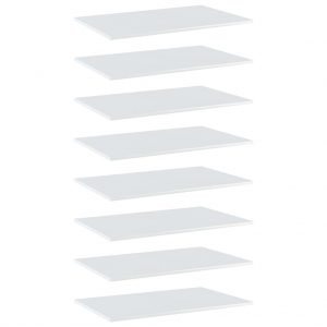 vidaXL Bookshelf Boards 8 pcs High Gloss White 80x50x1.5 cm Chipboard
