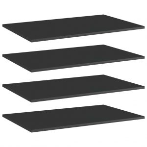 vidaXL Bookshelf Boards 4 pcs High Gloss Black 80x50x1.5 cm Chipboard
