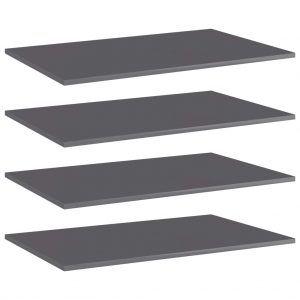 vidaXL Bookshelf Boards 4 pcs High Gloss Grey 80x50x1.5 cm Chipboard