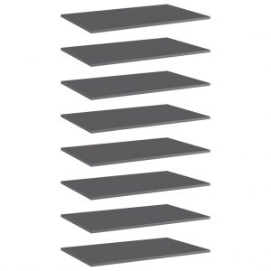 vidaXL Bookshelf Boards 8 pcs High Gloss Grey 80x50x1.5 cm Chipboard
