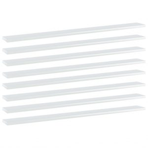 vidaXL Bookshelf Boards 8 pcs High Gloss White 100x10x1.5 cm Chipboard