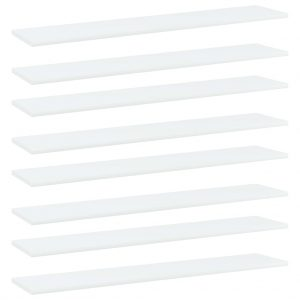 vidaXL Bookshelf Boards 8 pcs White 100x20x1.5 cm Chipboard