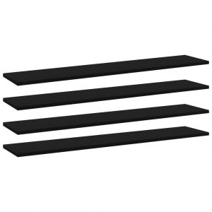 vidaXL Bookshelf Boards 4 pcs Black 100x20x1.5 cm Chipboard