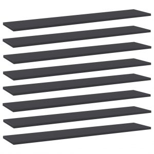 vidaXL Bookshelf Boards 8 pcs Grey 100x20x1.5 cm Chipboard