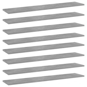 vidaXL Bookshelf Boards 8 pcs Concrete Grey 100x20x1.5 cm Chipboard