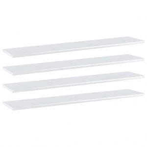 vidaXL Bookshelf Boards 4 pcs High Gloss White 100x20x1.5 cm Chipboard