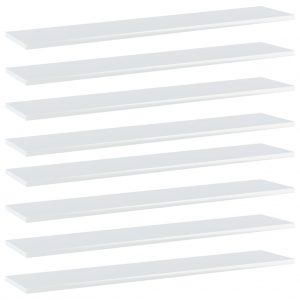 vidaXL Bookshelf Boards 8 pcs High Gloss White 100x20x1.5 cm Chipboard