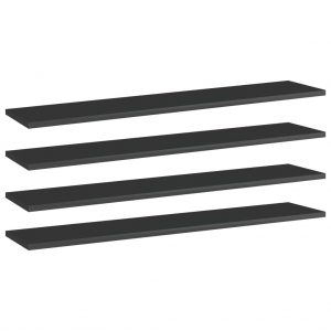 vidaXL Bookshelf Boards 4 pcs High Gloss Black 100x20x1.5 cm Chipboard