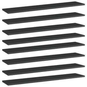 vidaXL Bookshelf Boards 8 pcs High Gloss Black 100x20x1.5 cm Chipboard