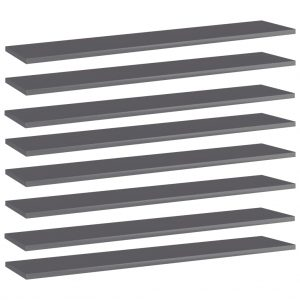 vidaXL Bookshelf Boards 8 pcs High Gloss Grey 100x20x1.5 cm Chipboard