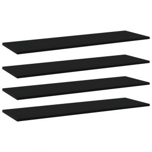 vidaXL Bookshelf Boards 4 pcs Black 100x30x1.5 cm Chipboard