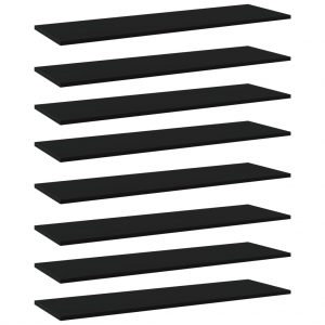 vidaXL Bookshelf Boards 8 pcs Black 100x30x1.5 cm Chipboard