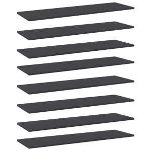 vidaXL Bookshelf Boards 8 pcs Grey 100x30x1.5 cm Chipboard