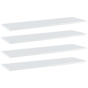 vidaXL Bookshelf Boards 4 pcs High Gloss White 100x30x1.5 cm Chipboard