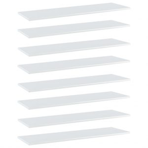 vidaXL Bookshelf Boards 8 pcs High Gloss White 100x30x1.5 cm Chipboard