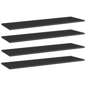 vidaXL Bookshelf Boards 4 pcs High Gloss Black 100x30x1.5 cm Chipboard