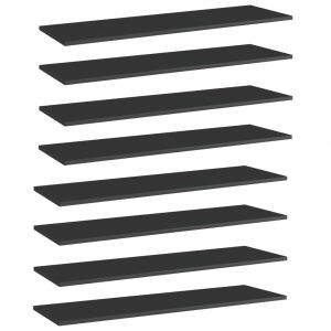 vidaXL Bookshelf Boards 8 pcs High Gloss Black 100x30x1.5 cm Chipboard