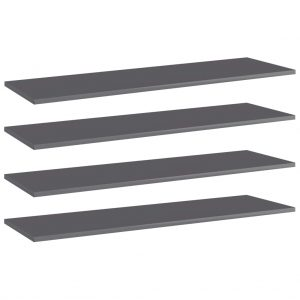 vidaXL Bookshelf Boards 4 pcs High Gloss Grey 100x30x1.5 cm Chipboard