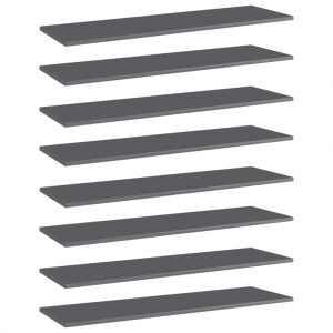 vidaXL Bookshelf Boards 8 pcs High Gloss Grey 100x30x1.5 cm Chipboard
