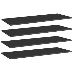 vidaXL Bookshelf Boards 4 pcs High Gloss Black 100x40x1.5 cm Chipboard