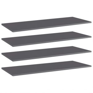 vidaXL Bookshelf Boards 4 pcs High Gloss Grey 100x40x1.5 cm Chipboard