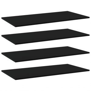 vidaXL Bookshelf Boards 4 pcs Black 100x50x1.5 cm Chipboard