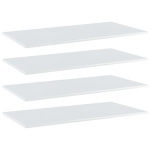 vidaXL Bookshelf Boards 4 pcs High Gloss White 100x50x1.5 cm Chipboard