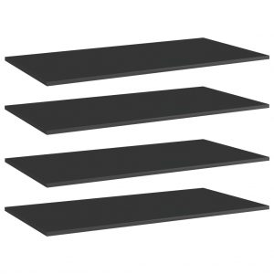 vidaXL Bookshelf Boards 4 pcs High Gloss Black 100x50x1.5 cm Chipboard