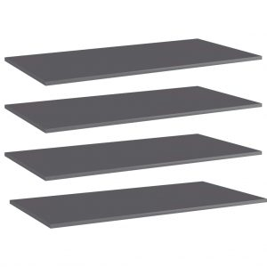 vidaXL Bookshelf Boards 4 pcs High Gloss Grey 100x50x1.5 cm Chipboard