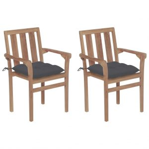 vidaXL Garden Chairs 2 pcs with Anthracite Cushions Solid Teak Wood