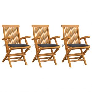 vidaXL Garden Chairs with Anthracite Cushions 3 pcs Solid Teak Wood