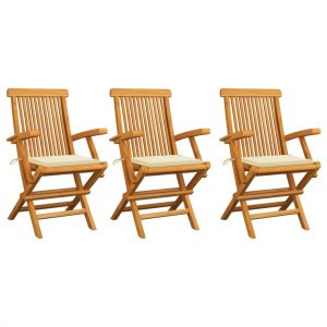 vidaXL Garden Chairs with Cream Cushions 3 pcs Solid Teak Wood