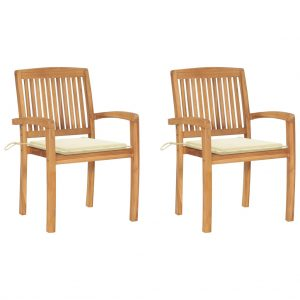 vidaXL Garden Chairs 2 pcs with Cream Cushions Solid Teak Wood