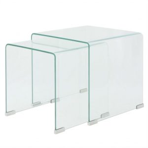 vidaXL Two Piece Nesting Table Set Tempered Glass Clear
