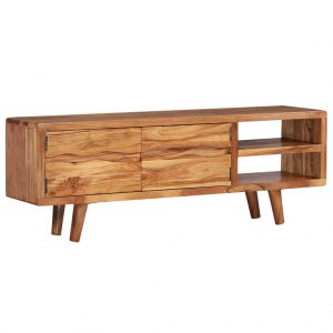 vidaXL TV Cabinet Solid Acacia Wood with Carved Doors 117x30x40 cm
