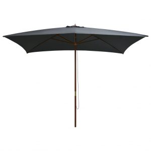 vidaXL Outdoor Parasol with Wooden Pole 200×300 cm Anthracite