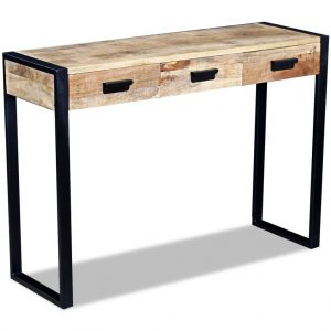 vidaXL Console Table with 3 Drawers Solid Mango Wood 110x35x78 cm