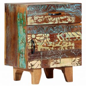 vidaXL Hand Carved Bedside Cabinet 40x30x50 cm Solid Reclaimed Wood