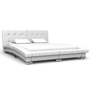 vidaXL Bed Frame White Faux Leather 137×187 cm Double