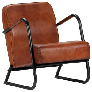 vidaXL Relax Armchair Brown Real Leather