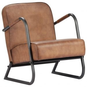 vidaXL Relax Armchair Light Brown Real Leather