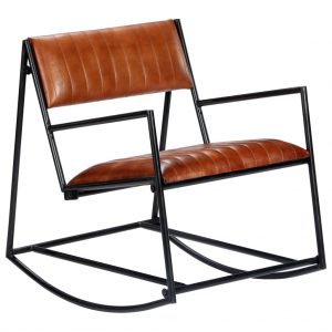 vidaXL Rocking Chair Brown Real Leather