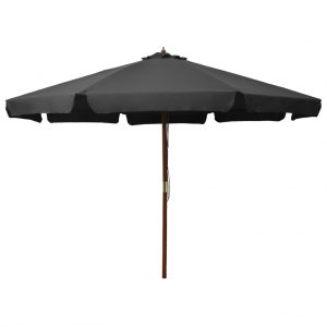 vidaXL Outdoor Parasol with Wooden Pole 330 cm Anthracite