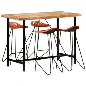 vidaXL 5 Piece Bar Set Solid Sheesham Wood and Real Leather