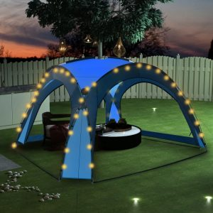 vidaXL Party Tent with LED and 4 Sidewalls 3.6×3.6×2.3 m Blue