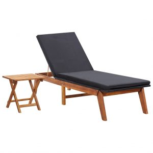 vidaXL Sun Lounger with Table Poly Rattan and Solid Acacia Wood