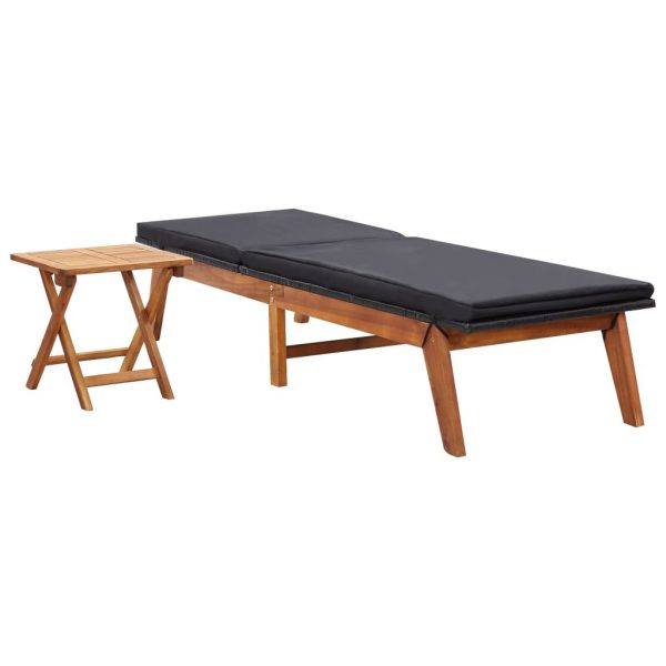 Sun Lounger with Table Poly Rattan and Solid Acacia Wood