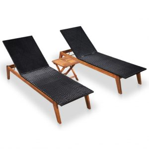vidaXL Sun Loungers 2 pcs with Table Poly Rattan and Solid Acacia Wood