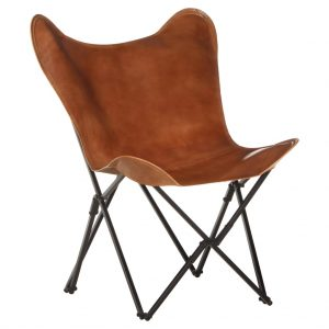 vidaXL Foldable Butterfly Chair Brown Real Leather