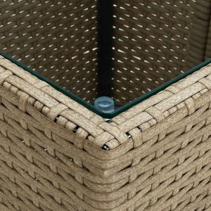 vidaXL Tea Table Beige 41.5×41.5×44 cm Poly Rattan and Tempered Glass